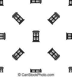 Two-storey house with large windows pattern seamless black