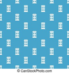 Two-storey house with large windows pattern seamless blue