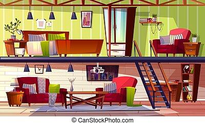 Two storey loft rooms interior vector illustration