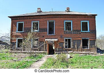 two-storeyed, bois, vieux, abandonnés, maison
