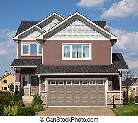 two-storied, garázs, roof., villaház, új, tégla, white-brown, fehér, nyersgyapjúszínű bezs
