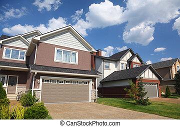 two-storied, garage., nyersgyapjúszínű bezs, villaház, új, tégla, white-brown