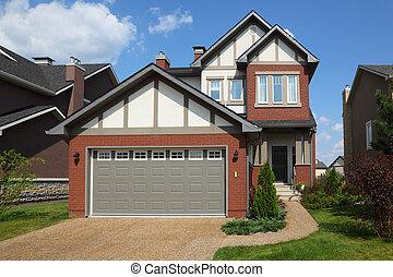 two-storied, garage., tak, stuga, färsk, vita tegelsten, ...