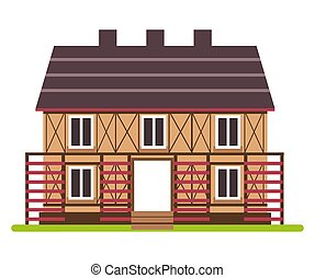 Two story farm house with timber framing front view - ...