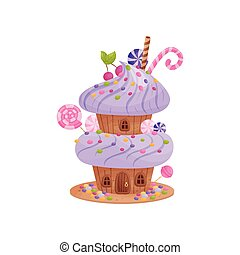 Two-story gingerbread house with whipped cream. Vector illustration on white background.