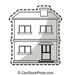 two story house icon image vector illustration design