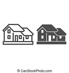 Two-story house line and solid icon. Double floor home ...