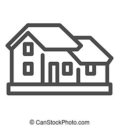 Two-story house line icon. Double floor home residential ...