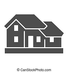Two-story house solid icon. Double floor home residential ...