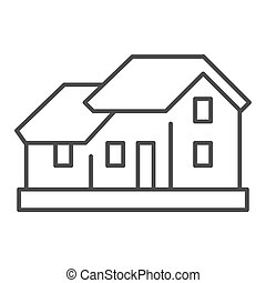 Two-story house thin line icon. Double floor home ...