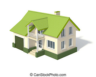 Two story house with a green roof and garage, isolated on ...