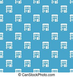 Two-story residential house pattern seamless blue
