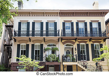 Two Story Savannah Home with Black Shutters
