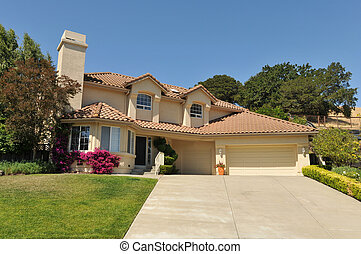 Two story single family house with driveway - Single family ...