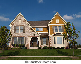 Two story stone, brick home