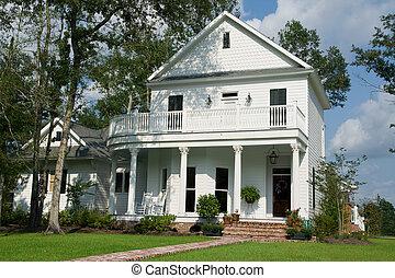 Two-Story White House - two-story white house in small...