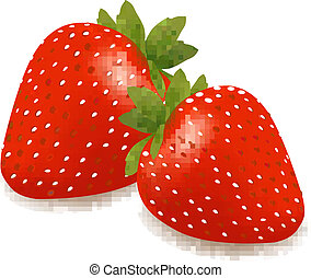 Two strawberries with leaves .