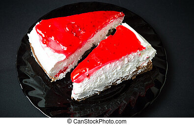 strawberry cheesecake slices on a plate