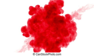 two streams of red ink spread in the water towards each...