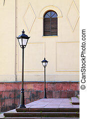 Two street lamps and window