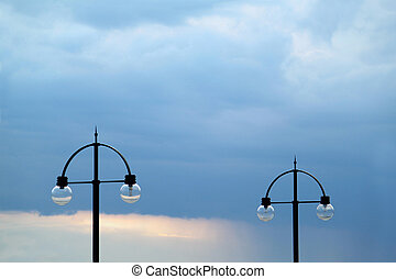 Two street lamps