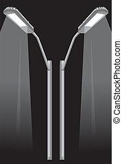 street light pole - two street light pole on black...