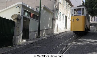 Two Street Trams Passing Lisbon - Lisbon Street Tram At...