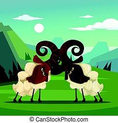 Two stubborn angry ram sheep characters quarreling. Vector flat cartoon illustration