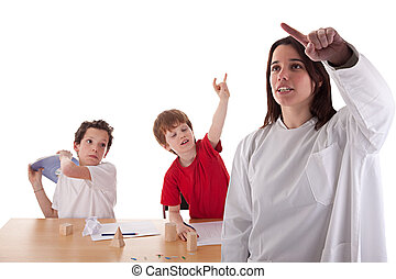 two students in the classroom, to make ugly gestures the teacher, isolated on white background