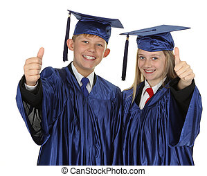 Two Students Showing Thumb Up Sign