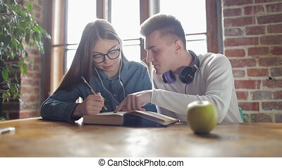 Two Students Studying and Learning together - Two students...