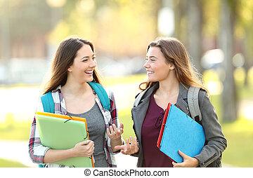 Two students talking walking in the street