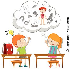 Two students thinking about schoolwork illustration