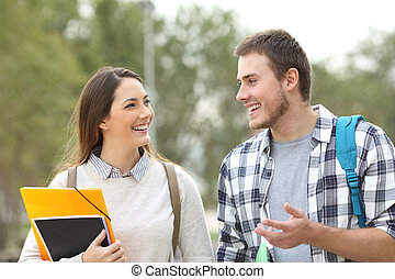 Two students walking and talking