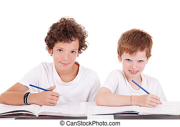 Two students with a pencil, writing, isolated on white background