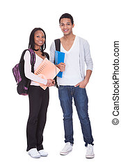 Two Students With Folder And Backpacks