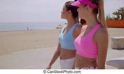 Two stylish fashionable young women walking along a seafront...