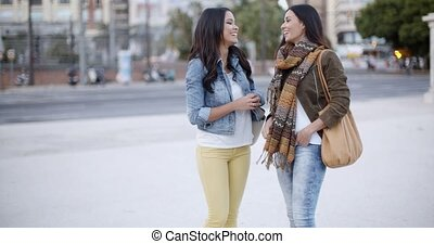 Two stylish women chatting outdoors in a town