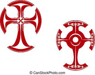 Two stylized crosses