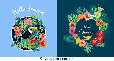 Two summer cards with tropical birds on floral background