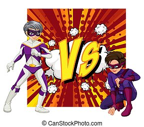 Two superheroes fighting each other