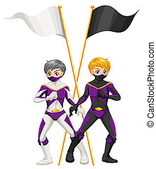 Two superheroes with empty banners