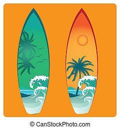two surfboard with different colors and textures