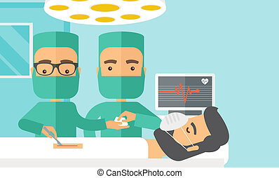 Two surgeons looking over a patient in an operating room - A...