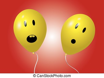 Two surprised balloons