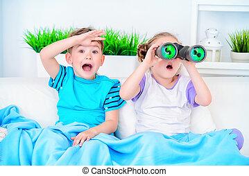 two surprised children