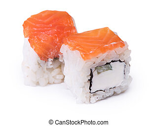 Two sushi rolls isolated