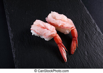 two sushi shrimp
