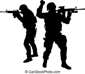 Two SWAT fighters aiming weapon vector silhouette