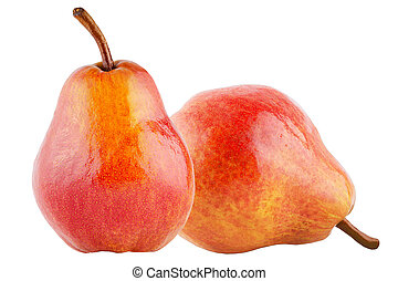 Two sweet pears isolated on the white